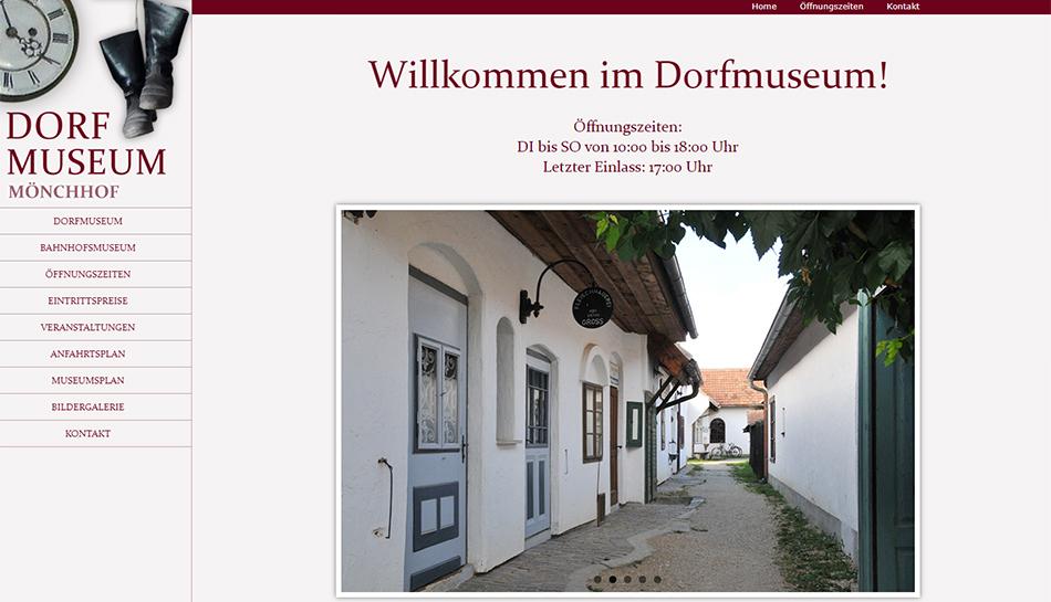 Screenshot Website Dorfmuseum Mönchhof Startseite