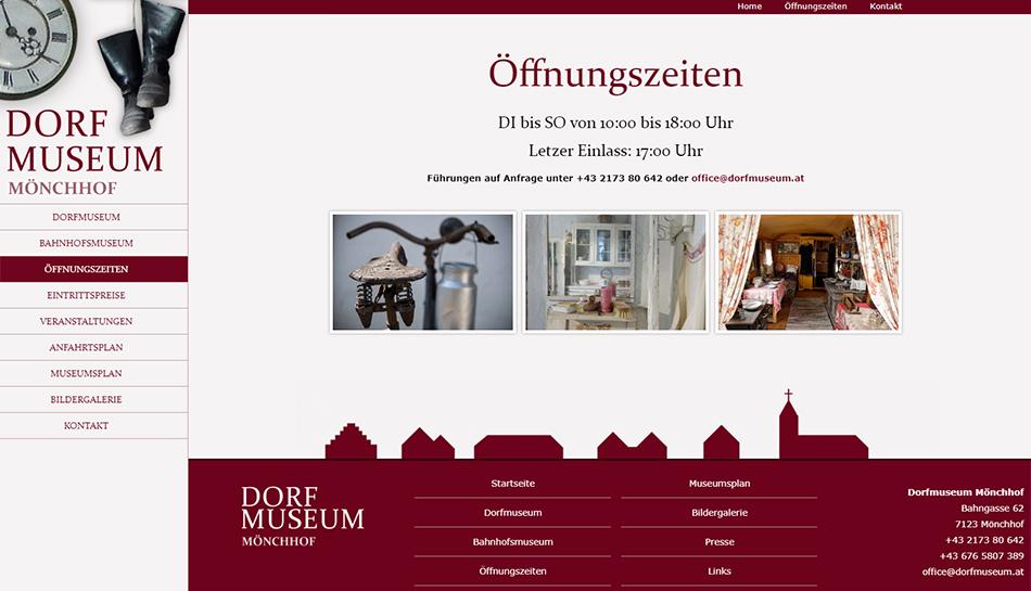 Screenshot Website Dorfmuseum Mönchhof