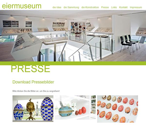 Screenshot 2 Website Eiermuseum