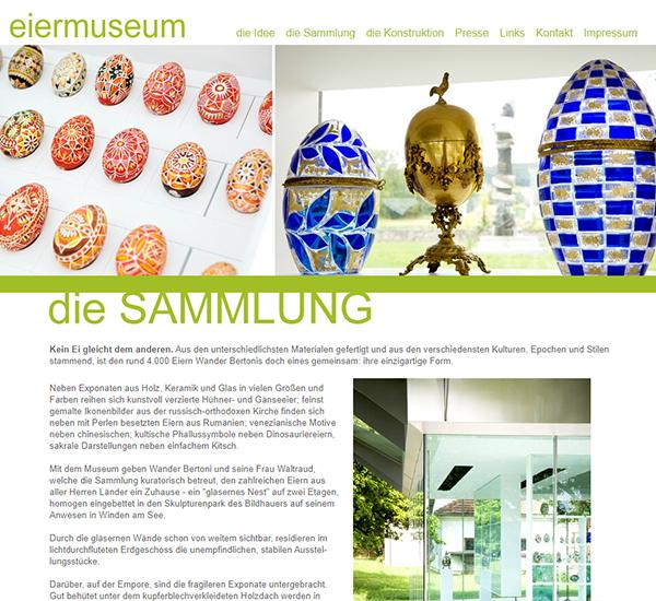 Screenshot 1 Website Eiermuseum