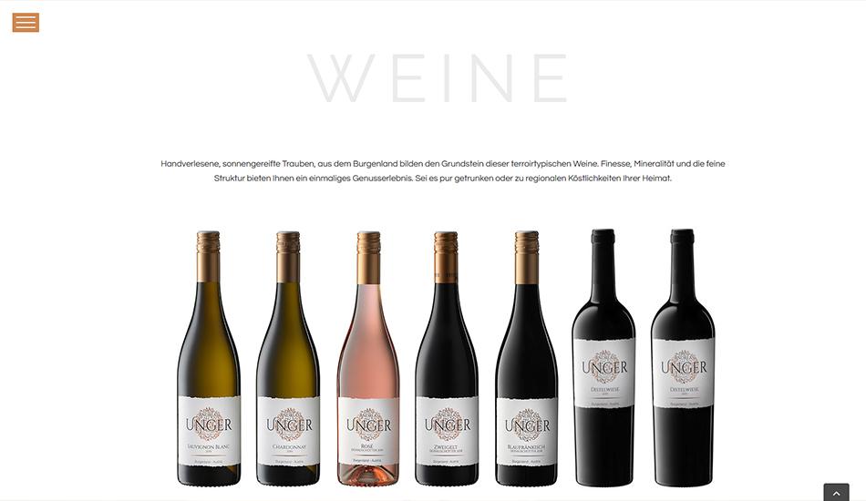 Andreas Unger Website Weine