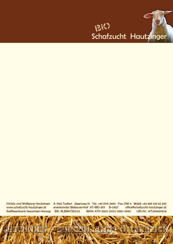 Bioschafzucht Hautzinger Briefpapier