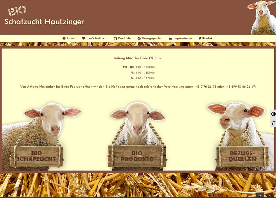 Bio-Schafzucht Hautzinger Website Screen 2