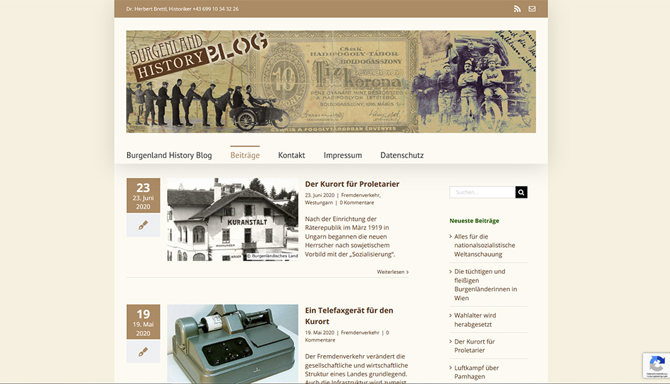 Website Burgenland History Blog