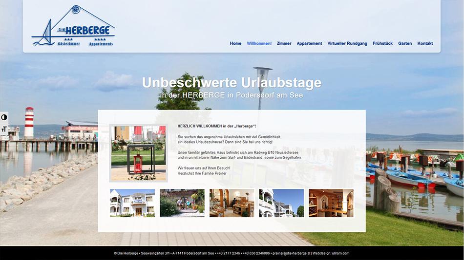 Die Herberge Website Screen 1