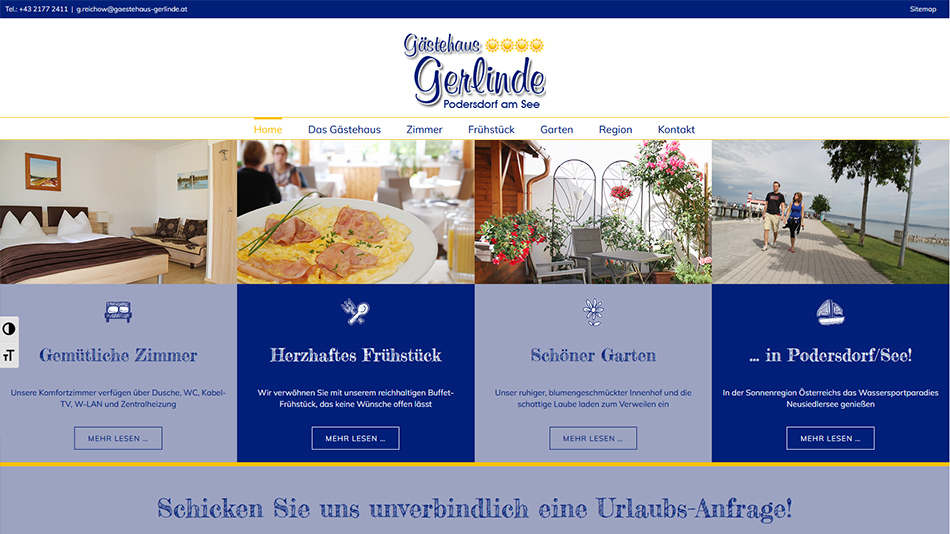 Gästehaus Gerlinde Website Screen 1
