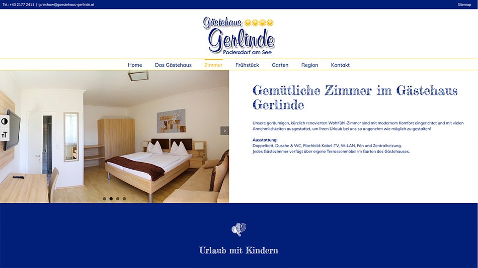 Gästehaus Gerlinde Website Screen 2