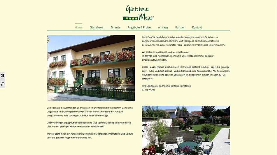Gästehaus Moser Website Screen 1