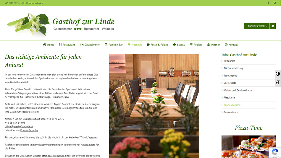 Gasthof zur Linde Website Screen 1