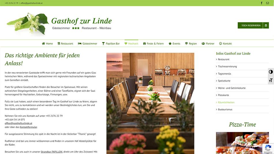 Gasthof zur Linde Website Screen 1