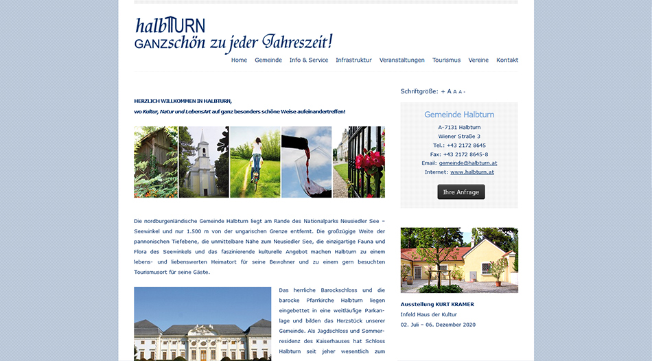 Gemeinde Halbturn Website Screen 1