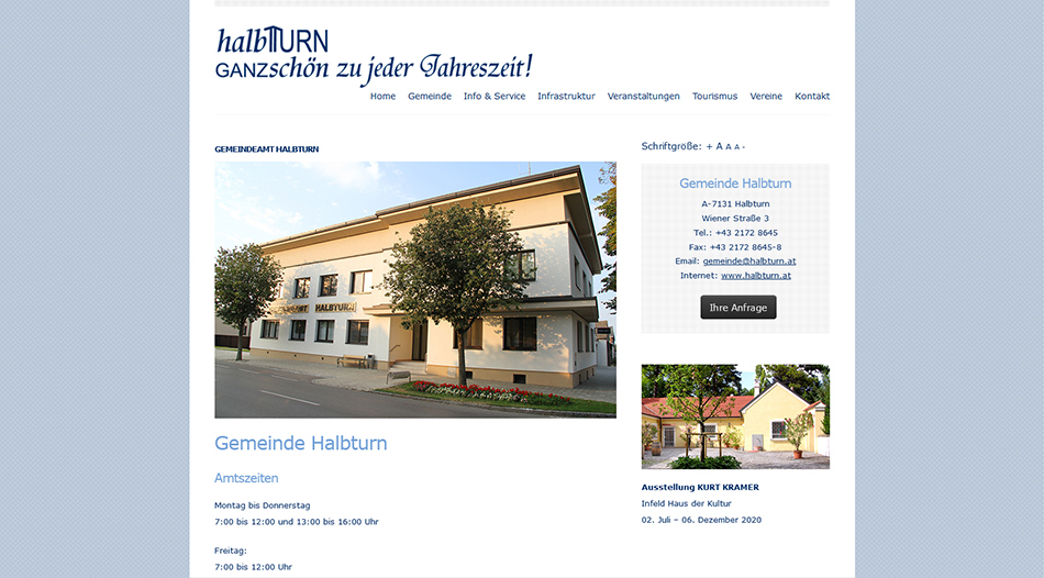 Gemeinde Halbturn Website Screen 2