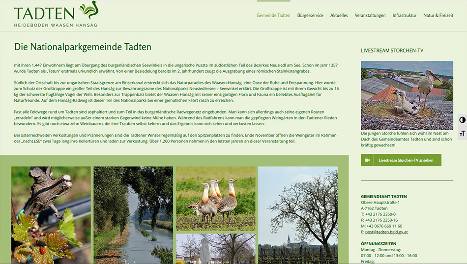 Gemeinde Tadten Website Screen 1