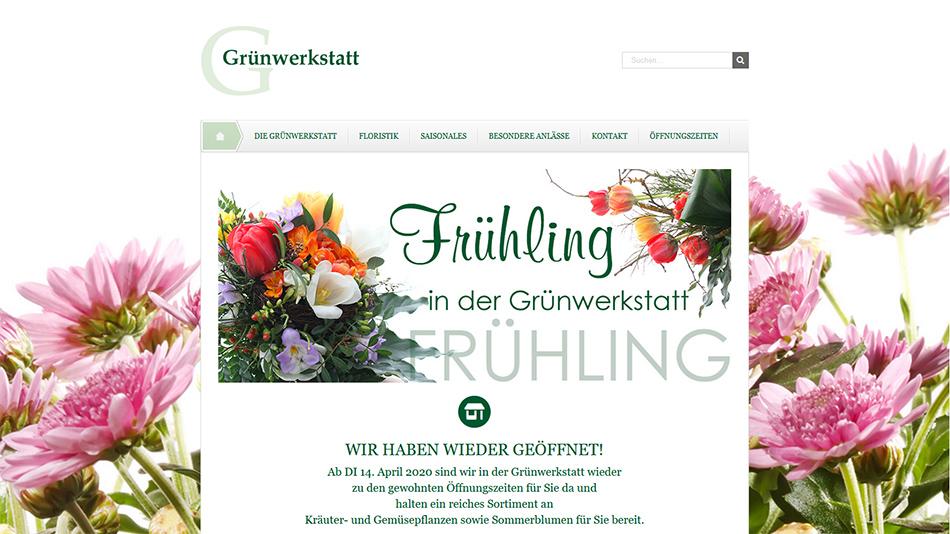 Grünwerkstatt Website Startseite