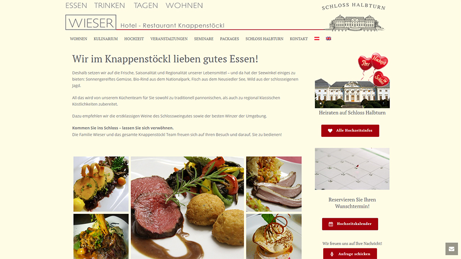 Knappenstöckl - Schloss Halbturn, Website Screen 1