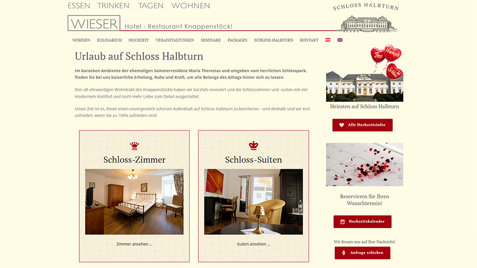 Knappenstöckl - Schloss Halbturn, Website Screen 3