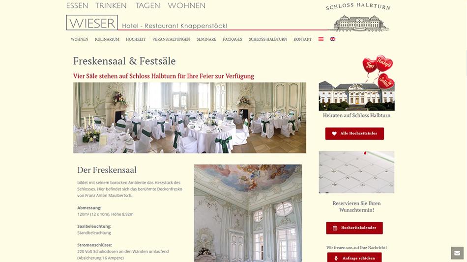 Knappenstöckl - Schloss Halbturn, Website Screen 2