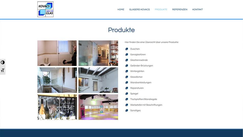 Glaserei Kovacs Website Screen 1