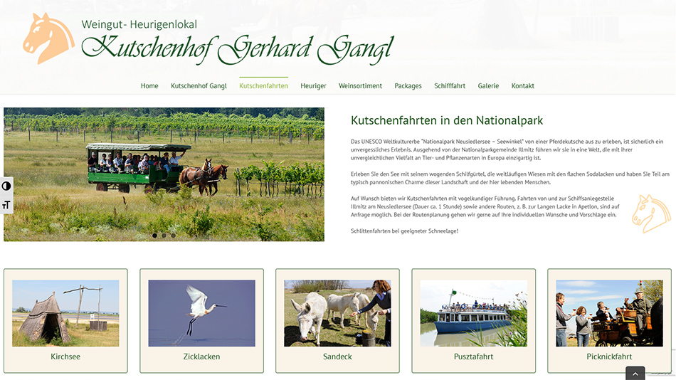 Kutschen Gangl Website Screen 2