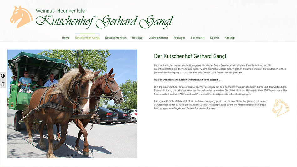 Kutschen Gangl Website Screen 3