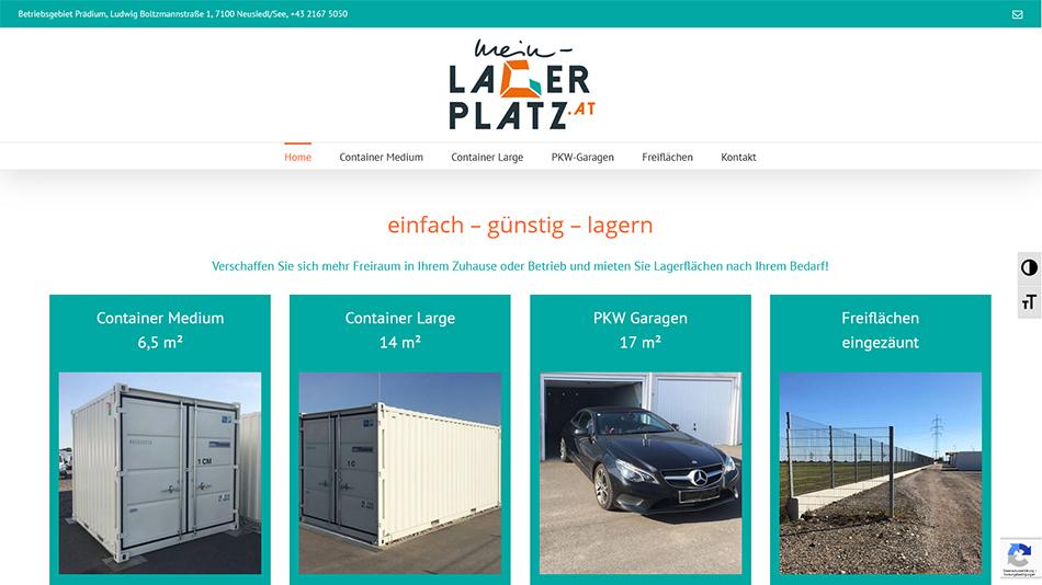 Mein Lagerplatz Website Startseite