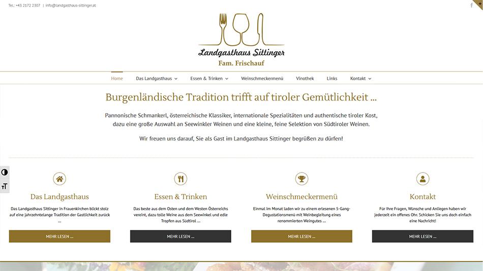 Landgasthaus Sittinger Website Screen 1