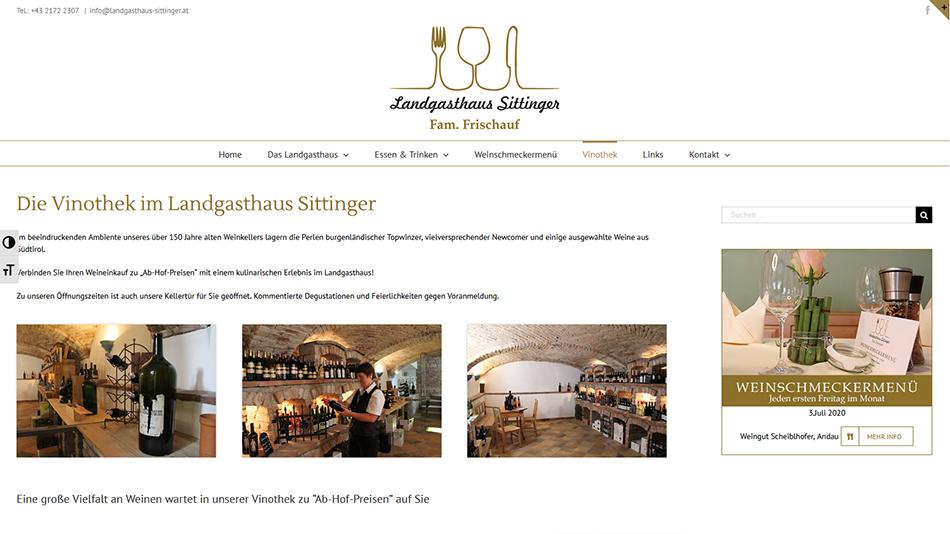 Landgasthaus Sittinger Website Screen 2