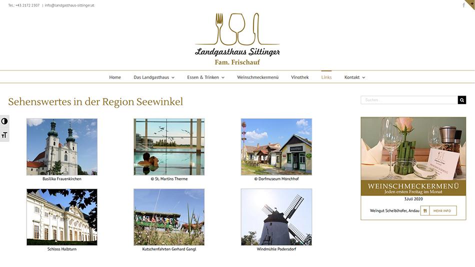 Landgasthaus Sittinger Website Screen 3