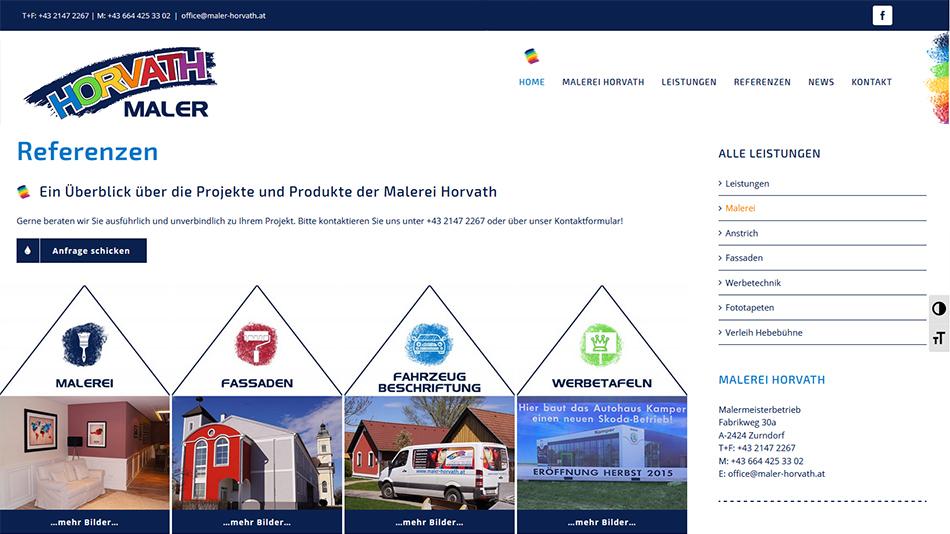 Maler Horvath Website Screen 1