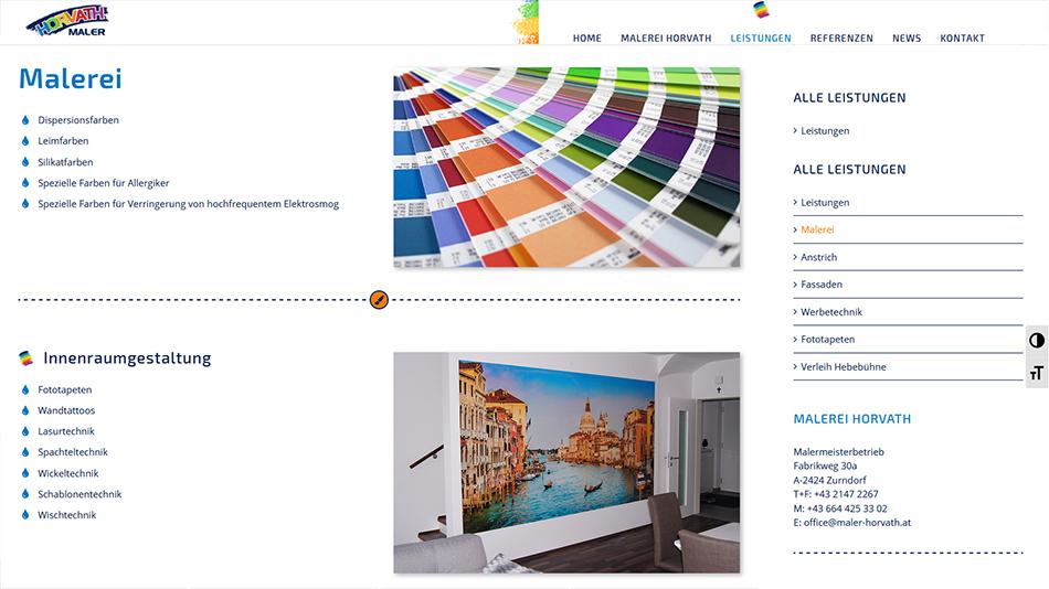 Maler Horvath Website Screen 2