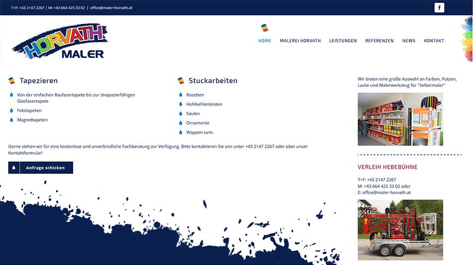 Maler Horvath Website Screen 3