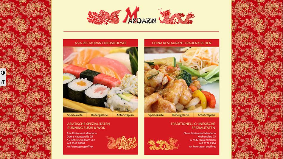 Restaurant Mandarin Website Startseite