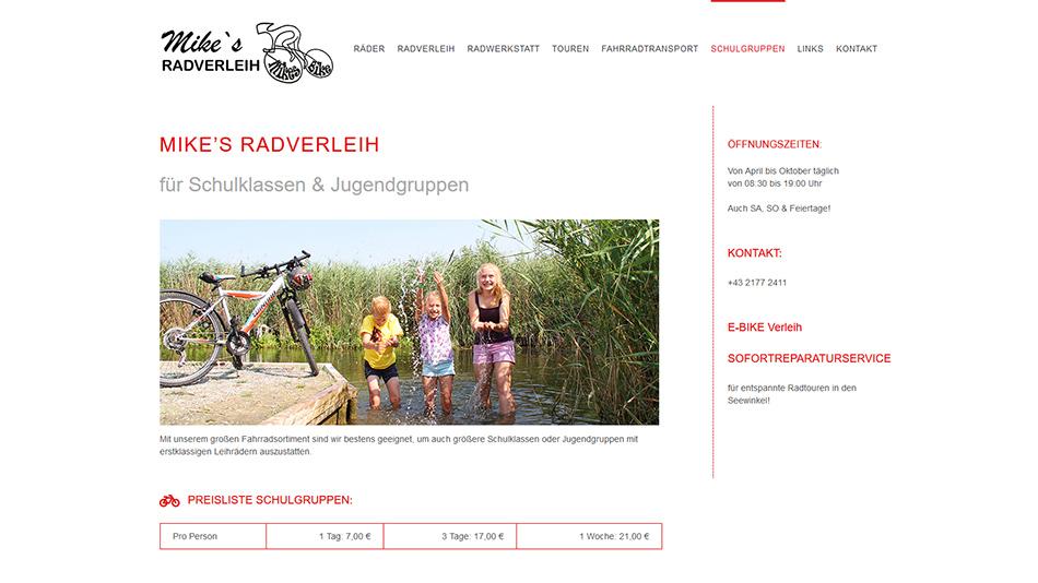 Mikes Bike Website Screen 1