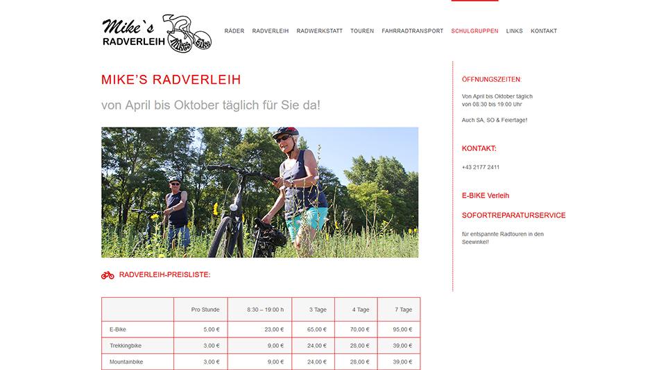 Mikes Bike Website Screen 2