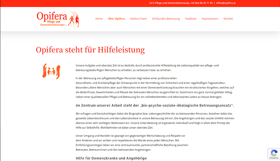 Opifera Website Screen 1