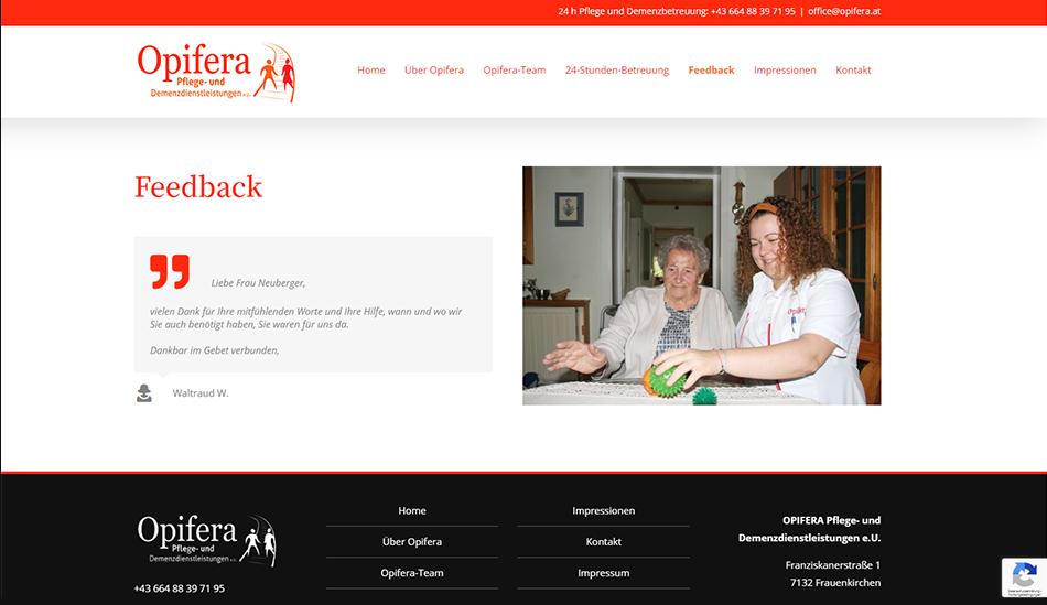 Opifera Website Screen 2