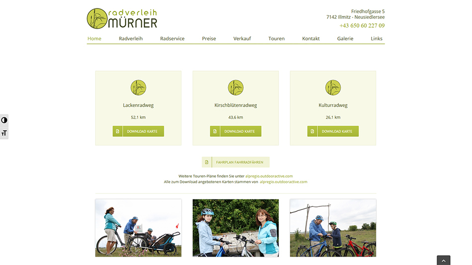 Radverleih Mürner Website Screen 1