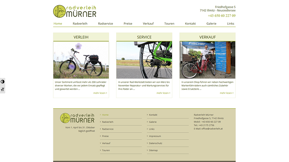 Radverleih Mürner Website Screen 2