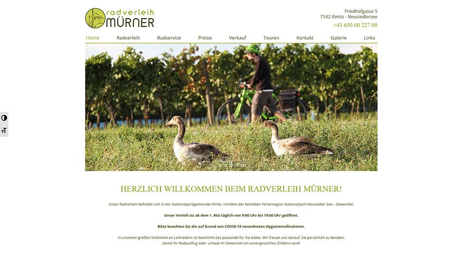 Radverleih Mürner Website Startseite