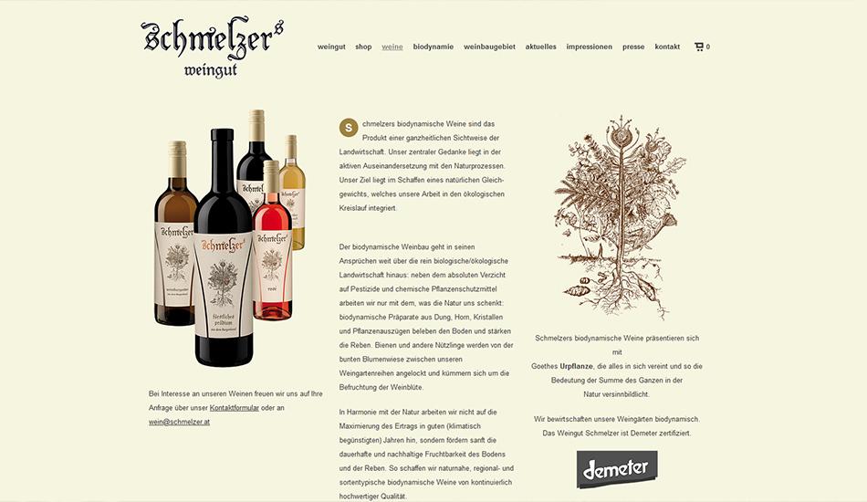 Schmelzers Weingut Website Screen 1