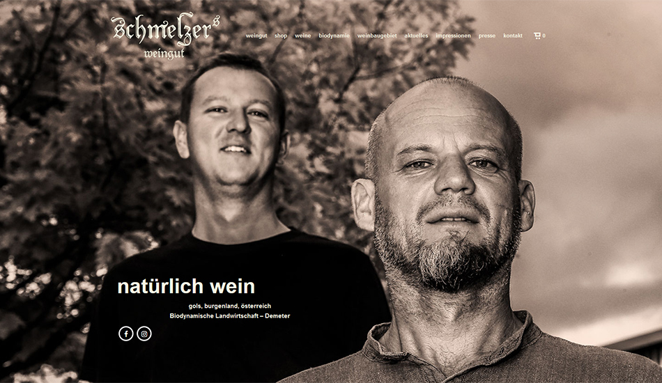 Schmelzers Weingut Website Startseite