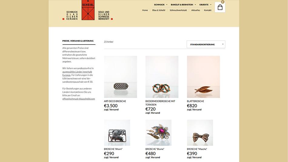 Schmuck Blau & Scheibl Onlineshop