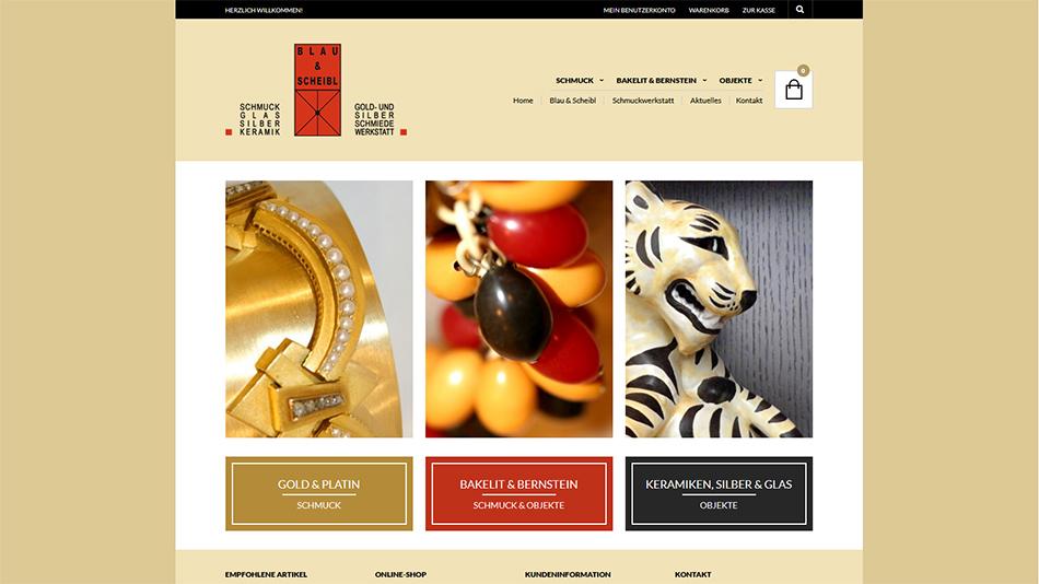 Schmuck Blau & Scheibl Website Startseite