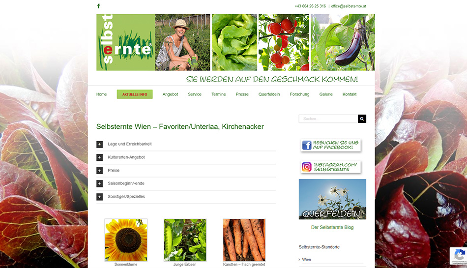 Selbsternte Wien Website Standorte