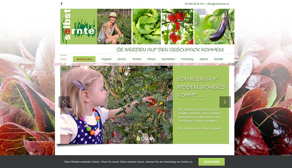 Selbsternte Wien Website Startseite