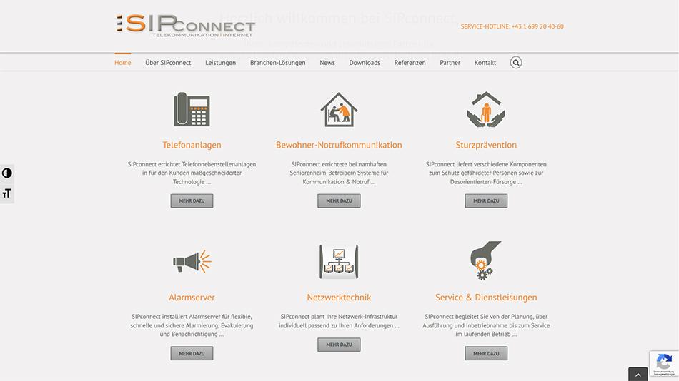 Sipconnect Website Screen 1