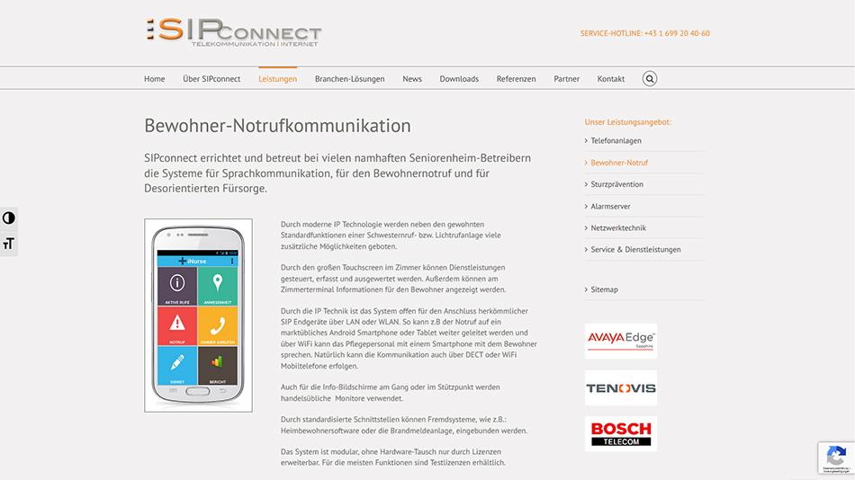 Sipconnect Website Screen 4