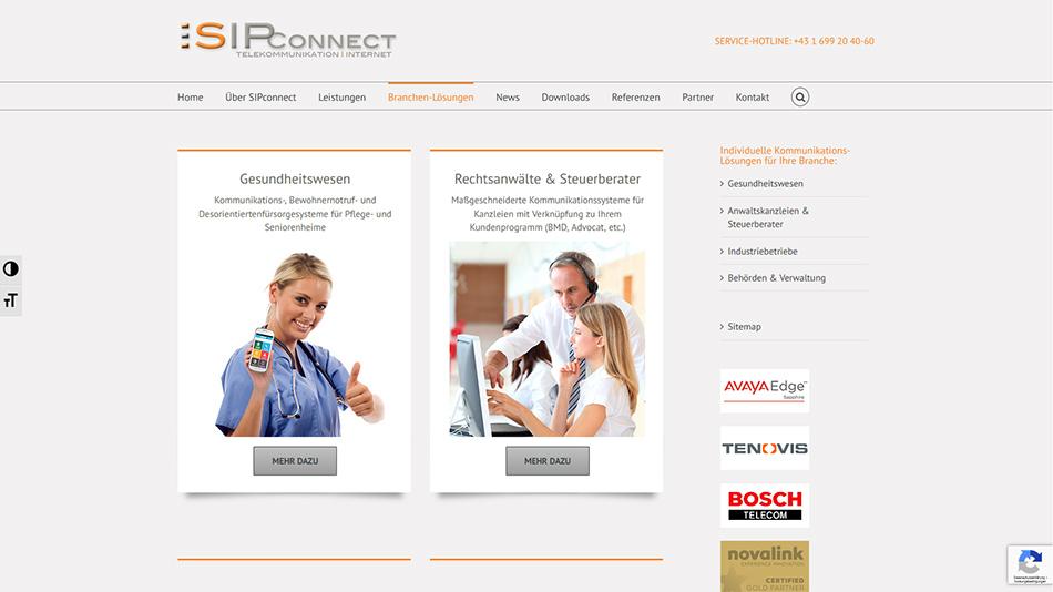 Sipconnect Website Screen 2
