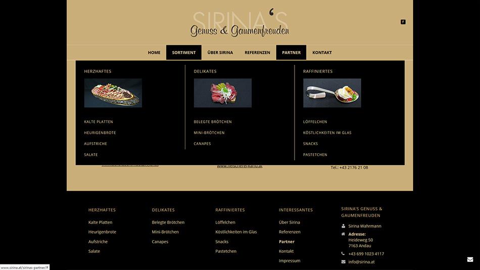 Sirina's Genuss- und Gaumenfreuden Website Screen 1