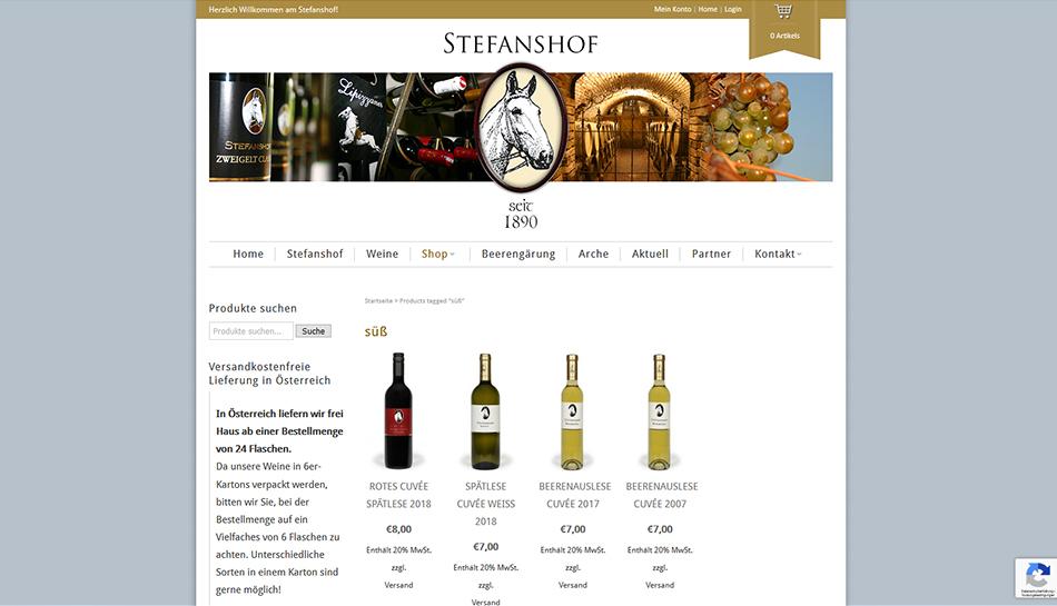 Stefanshof Website Shop